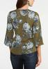 Plus Size Floral Wood Ring Wrap Top alternate view