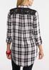 Plus Size Lace Pocket Plaid Shirt alternate view