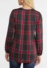 Plus Size Red Criss Cross Plaid Top alternate view
