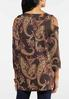 Plus Size Paisley Puff Cold Shoulder Top alternate view