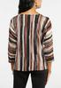 Plus Size Rustic Stripe Tie Front Top alternate view