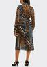 Plus Size Pleated Mixed Print Midi Dress alternate view