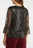 Plus Size Sequined Flare Sleeve Top alternate view