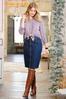 Plus Size Zip Front Denim Skirt alt view