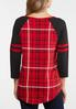Plus Size Red Check Baseball Tee alternate view