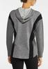 Plus Size Gray Athleisure Hooded Top alternate view