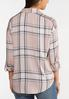 Plus Size Plaid Smocked Sleeve Top alternate view