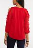 Plus Size Red Ruffled Sleeve Top alternate view
