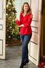 Plus Size Red Ruffled Sleeve Top alt view