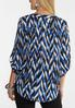Plus Size Blue Geo Pullover Top alternate view