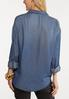 Plus Size Chambray Smocked Shoulder Top alternate view