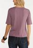 Plus Size Ribbed Button Down Skimmer Top alternate view
