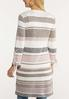 Plus Size Striped Grommet Cardigan Sweater alternate view