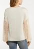 Oatmeal Lace Sleeve Top alternate view