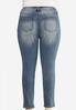 Plus Size Faded Skinny Ankle Jeans alternate view