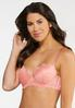 Plus Size Coral And White Lace Bra Set alternate view