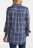 Plus Size Plaid Tie Sleeve Shirt alternate view