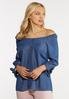 Plus Size Sweetheart Chambray Top alt view