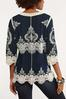 Crochet Embroidered Tunic Top alternate view