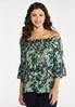 Plus Size Green Tie Dye Poet Top alt view