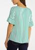 Plus Size Ruffled Green Stripe Top alternate view