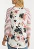 Plus Size Waffle Stripe Floral Top alternate view