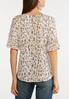 Plus Size Pleated Sleeve Printed Top alternate view