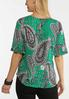 Plus Size Pleated Sleeve Printed Top alt view