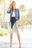 Colorblock Pleated Midi Skirt alt view