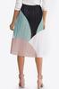 Plus Size Colorblock Pleated Midi Skirt alternate view
