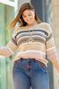 Plus Size Yarn Knit Striped Sweater alt view