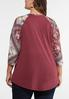 Plus Size Knotted Burgundy Floral Top alternate view