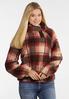 Plus Size Plaid Fleece Pullover Top alt view