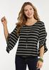 Plus Size Ruffle Sleeve Stripe Top alt view