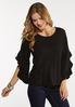 Plus Size Ruffled Slit Sleeve Top alt view