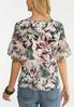 Plus Size Floral Flutter Sleeve Top alternate view