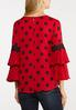 Plus Size Dotted Ruffled Sleeve Top alternate view
