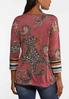 Plus Size Knotted Rose Paisley Top alternate view