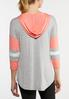Plus Size Sporty Striped Sleeve Hoodie alternate view