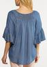Smocked Chambray Top alternate view