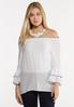 White Crepe Poet Top alt view