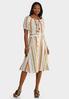 Linen Stripe Button Front Skirt alt view