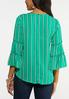 Plus Size Striped Pearl Embellished Top alternate view