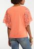 Coral Lace Sleeve Top alternate view