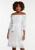 Plus Size White Square Neck Peasant Dress alt view
