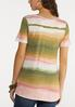 Plus Size Dip Dye Ruched Stripe Top alternate view