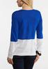 Blue Colorblock Linen Sweater alternate view