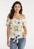 Plus Size Ruffled Gauze Floral Top alt view