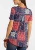 Plus Size Knotted Patchwork Paisley Top alternate view