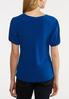 Plus Size Blue Twisted Front Top alternate view